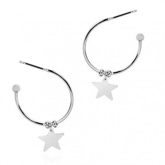 Kolczyki srebrne kółka z przywieszkami gwiazdki