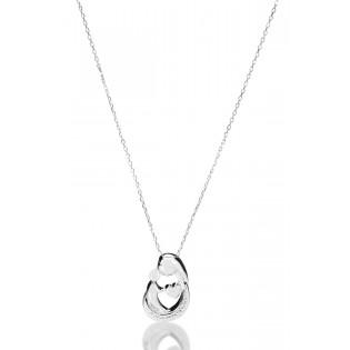 Naszyjnik srebrny z cyrkoniami - Prezent dla Mamy - Mama z dzieckiem