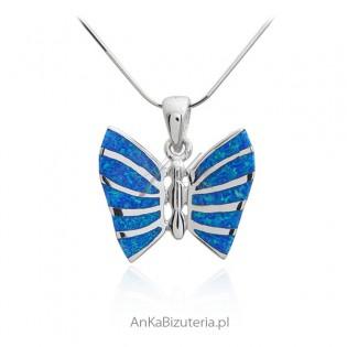 Zawieszka srebrna niebieski motyl z opalem