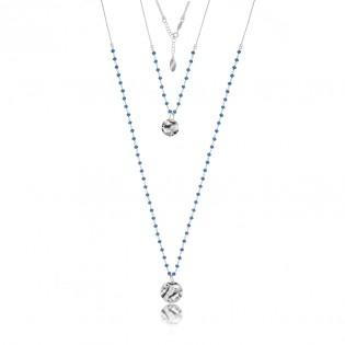 Naszyjnik srebrny z kryształkami w kolorze Montana