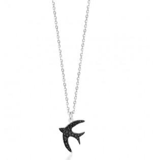 Naszyjnik srebrny z czarną jaskółką Piękna biżuteria włoska