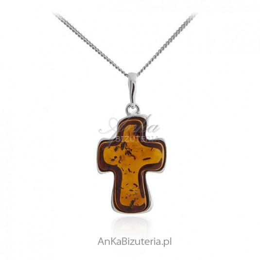 Krzyżyk srebrny z bursztynem - bursztyn bałtycki