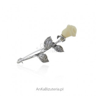 Biała róża - Broszka srebrna z bursztynem