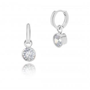 Kolczyki srebrne z białą cyrkonią - biżuteria modułowa