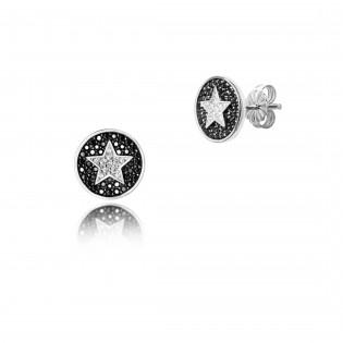 Kolczyki srebrne z czarnymi i białymi cyrkoniami - gwiazdki - Dall Acqua