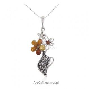 Zawieszka srebrna z bursztynem - wazonik z kolorowymi kwiatkami