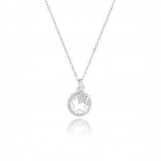 Naszyjnik srebrny rodowany z cyrkoniami - Nowa kolekcja włoska