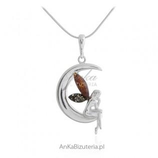 Zawieszka srebrna ELF z kolorowymi skrzydełkami z bursztynu