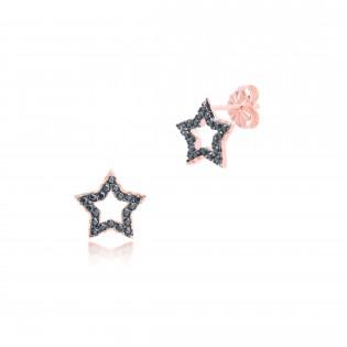 Kolczyki srebrne pozłacane różowym złotem z czarnymi cyrkoniami - GWIAZDKI