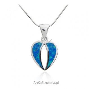 Biżuteria srebrna - Zawieszka srebrna serduszko z niebieskim opalem