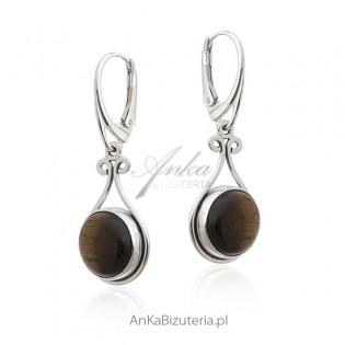 Biżuteria srebrna - Kolczyki srebrne z TYGRYSIE OKO