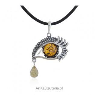 Biżuteria srebrna - OKO z ŁEZKĄ - biżuteria z bursztynem