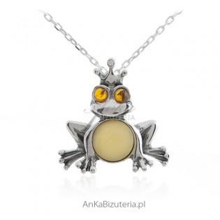 Biżuteria srebrna - Zawieszka srebrna ŻABKA z bursztynem
