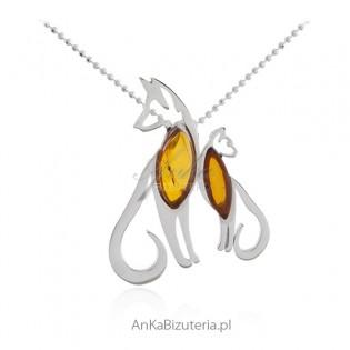 Biżuteria srebrna - DALMATYŃCZYKI - zawieszka z bursztynem