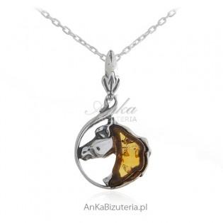 Biżuteria srebrna - zawieszka z bursztynem KOŃ - biżuteria artystyczna