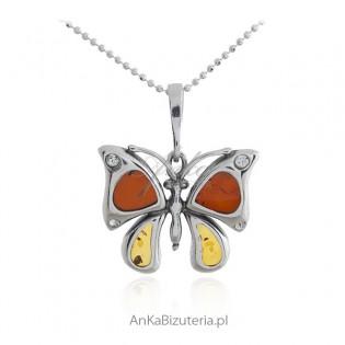 Biżuteria srebrna z bursztynem -ĆMA - zawieszka srebrna
