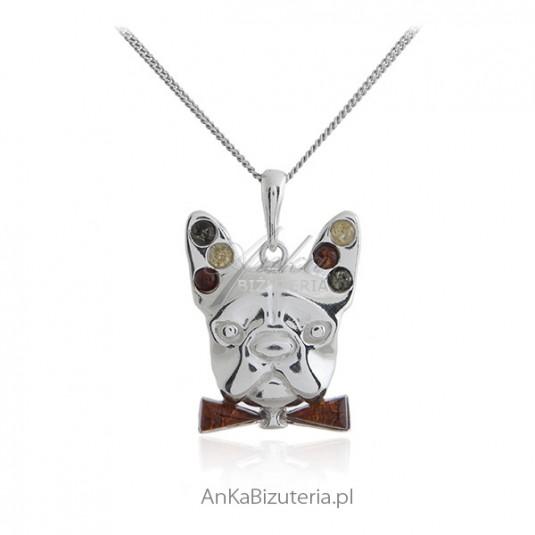 Wisior - BULDOG ANGIELSKI - biżuteria srebrna z bursztynem