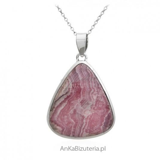 Biżuteria srebrna - RODOCHROZYT - UNIKAT - Zawieszka srebrna z naturalnym kamieniem