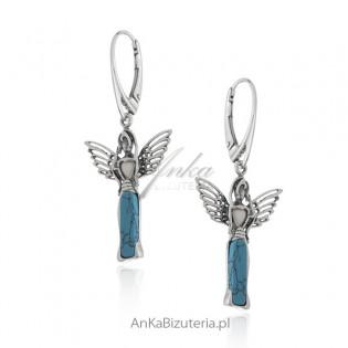 Kolczyki srebrne z niebieskim turkusem i białym bursztynem - ANIELICE.