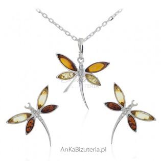 Komplet biżuteria srebrna z bursztynem - WAŻKI - wyjątkowo piękna biżuteria
