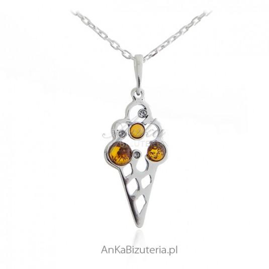Wisiorek srebrny - PORCJA LODÓW - biżuteria z bursztynem na lato