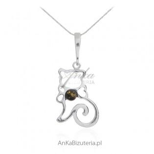 Biżuteria srebrna z bursztynem - KOTEK KITKA -zawieszka z bursztynem