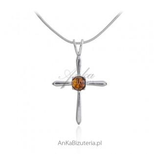 Krzyżyk srebrny z bursztynem - dewocjonalia srebrne z bursztynem