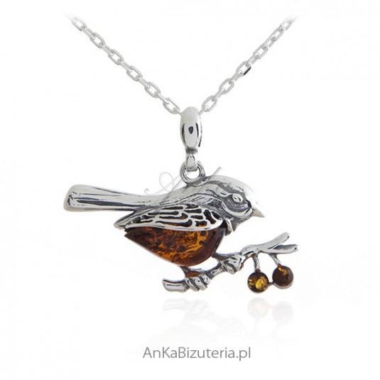 Biżuteria srebrna z bursztynem -SKOWRONEK - zawieszka srebrna