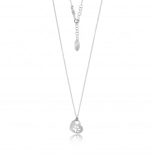 Naszyjnik srebrny dla miłośników zwierząt - ŁAPKA W SERCU - biżuteria srebrna włoska