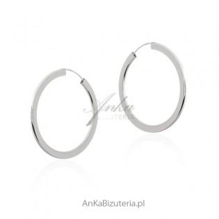 Kolczyki srebrne - ŚREDNIE KOŁA - modna biżuteria srebrna