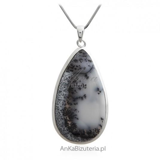 Piękna zawieszka srebrna z niespotykanym kamieniem - DENDROITE - biżuteria na wyjątkowy prezent
