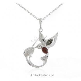Biżuteria srebrna - PTAK SPIJAJĄCY RAJSKIE MLECZKO - zawieszka z bursztynem