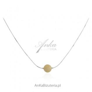 Naszyjnik srebrny -KULA Z BURSZTYNU - żółty bursztyn