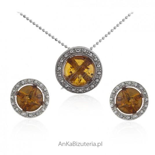 Komplet biżuteria srebrna z bursztynem - OKRĄGŁY