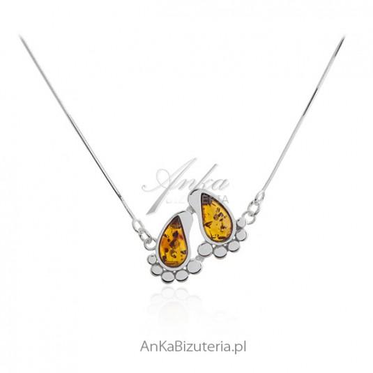 Naszyjnik srebrny z bursztynem - STOPY DZIECKA - biżuteria na prezent Baby shower