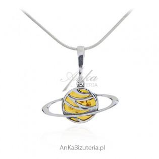 Zawieszka srebrna - ORBITA - biżuteria z bursztynem