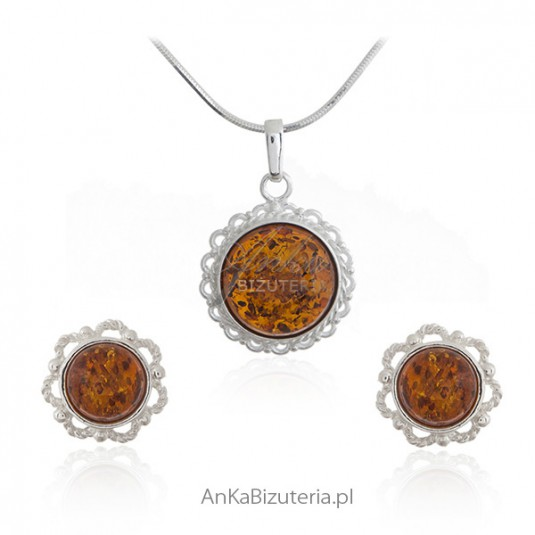 Komplet biżuteria srebrna z bursztynem - KORONKOWA BIŻUTERIA Z BURSZTYNEM