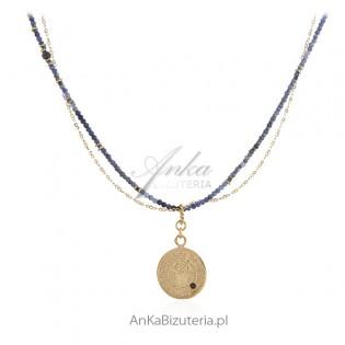 Piękny naszyjnik srebrny pozłacany 24k złotem z szafirem i jolitem - KOLEKCJA BOSKA MEDALION.