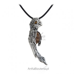 Duża papuga ARA - piękna zawieszka srebrna z bursztynem