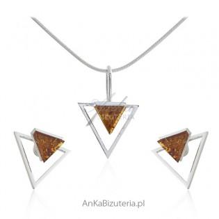 Komplet biżuteria srebrna z bursztynem - GEOMETRIC