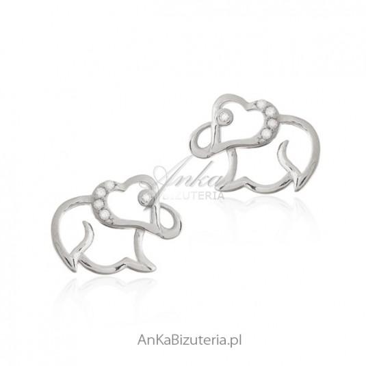 Kolczyki dziecięce słoniki - biżuteria srebrna z cyrkoniami