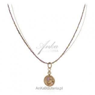 Naszyjnik srebrny pozłacany 24kt - BOSKA - z granatami i starożytnym medalionem