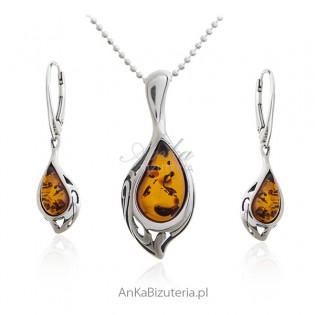 Komplet biżuterii z bursztynem - Elegancka biżuteria z bursztynem