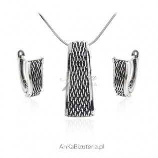 Komplet biżuteria srebrna oksydowana SCARLETT