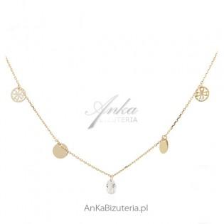 Naszyjnik choker - biżuteria srebrna pozłacana