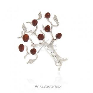 Biżuteria srebrna - broszka srebrna z bursztynem DRZEWKO