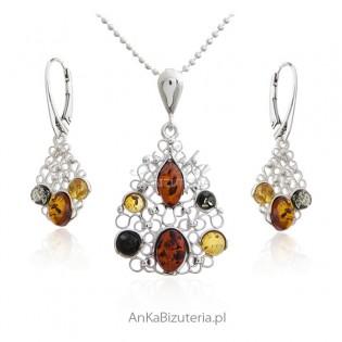 Komplet biżuteria srebrna - czar koronki z bursztynem