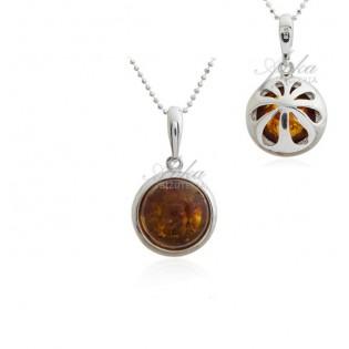 Wisiorek srebrny z bursztynem - Elegancka kuleczka
