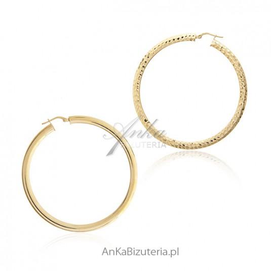 Duże kolczyki srebrne pozłacane koła - Biżuteria włoska Dall Acqua