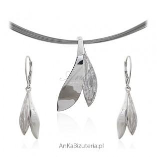 Komplet biżuteria srebrna rodowana - SREBRNE LISTKI